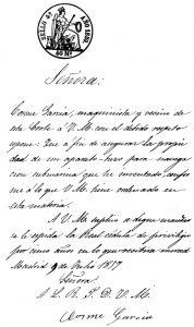 Solicitud del privilegio de invención firmada por Cosme García