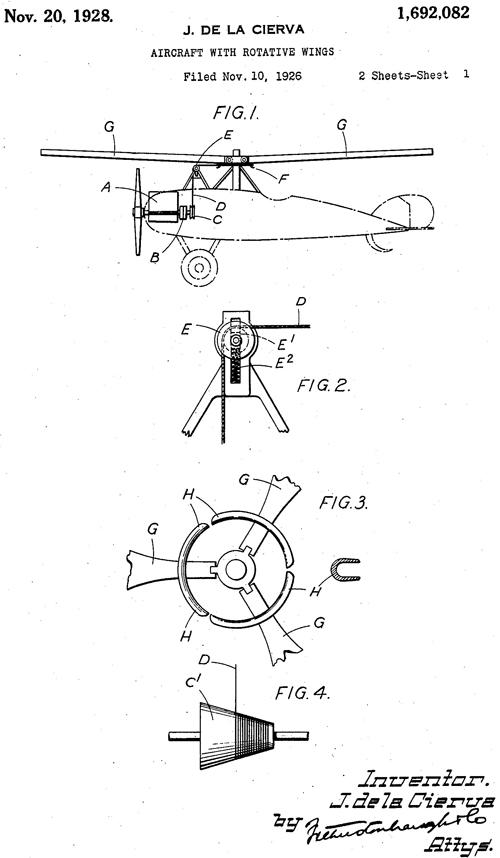 Patente Autogiro Cierva Estados Unidos