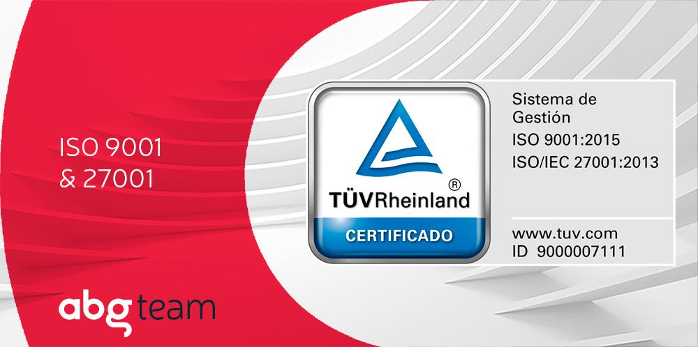 Los Sistemas de Gestión de Calidad y de Seguridad de la Información de ABG reciben las certificaciones ISO 9001 y 27001